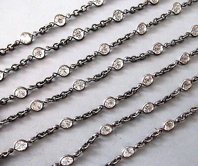 ANTIQUE OPEN BACK CRYSTAL BEZEL 59 INCH LONG MUFF WATCH CHAIN NECKLACE