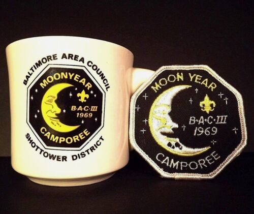 Boy Scout Mug and Patch 1969 Moon Year Excellent Condition Patch Never Worn
