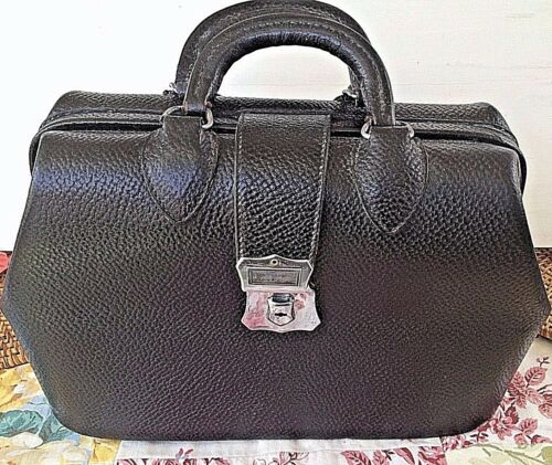 Kruse Antique Doctor Hand Bag Black Pebbled Leather Cowhide