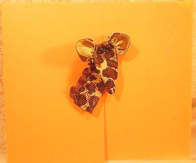 Giraffe Folded Note - Orange Barn Door Folded Note 8/8 add-on Grosgrain Giraffe Face & White Envelope