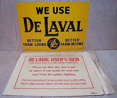 (Orig Old DELAVAL FARM Feed Seed Store Tin Metal Advertising Sign w Envelope NOS)