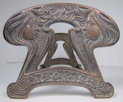 Antique Art Nouveau Expandable Cast Iron Book Rack beautiful maiden flowing hair