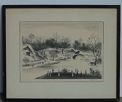 Adolf Dehn American Listed Artist Original Pencil Signed Lithograph Central Park
