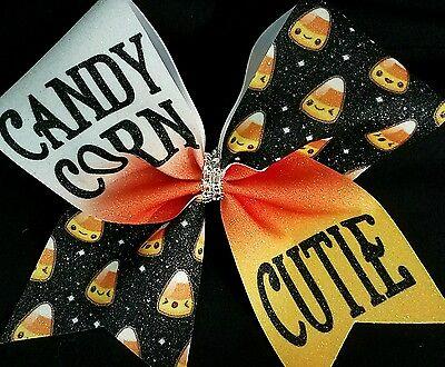 Cheer Bow - Candy Corner Cutie  - Halloween Glitter - Hair Bows - Halloween Cheer Bows