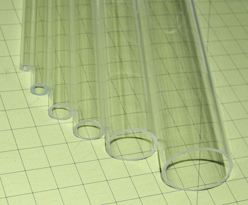 "CLEAR ACRYLIC PLEXIGLASS LUCITE TUBE 2 1/2"" OD 2 1/4"" ID 24"" LONG 2.5"" DIAMETER"