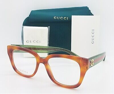 NEW Gucci RX Frame Glasses Havana Glitter Green Red GG0037O 002 50mm (Gucci Red And Green Glasses)