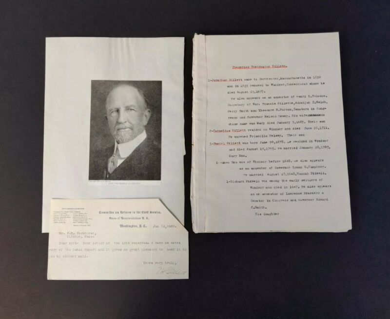 1902 Frederick Gillett Autograph ~ Congress & Speaker of the House