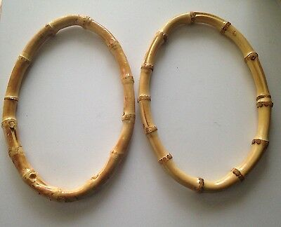 "Handbag Purse Handles - Bamboo Ovals 2 pc. Set  8"" Long 5""Tall"