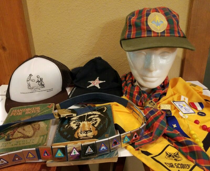 Lot of 29 Boy Scouts of America Hats Scarves Pins Badges Books & Misc