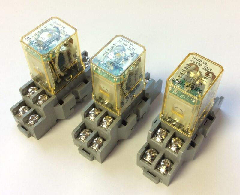 Lot of 3 Idec RH2B-UL Ice Cube Relays 10A AC110-120V Coil w/ SH2B-05 Base Socket