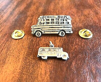 18 SETS Boy & Girl CHILDREN JEWELRY 18 SCHOOL BUS PEWTER PINS & 18 CHARMS New