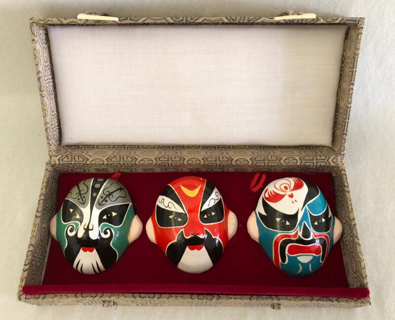 Vintage Clay Chinese Opera Masks Hand Painted Original Decorative Box Set Of 3