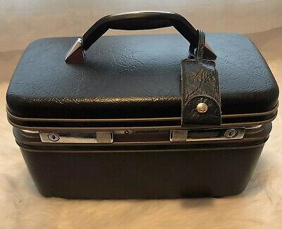 Samsonite Profile II Makeup Hard Case Blue Vanity Mirror Luggage Train Sew USA