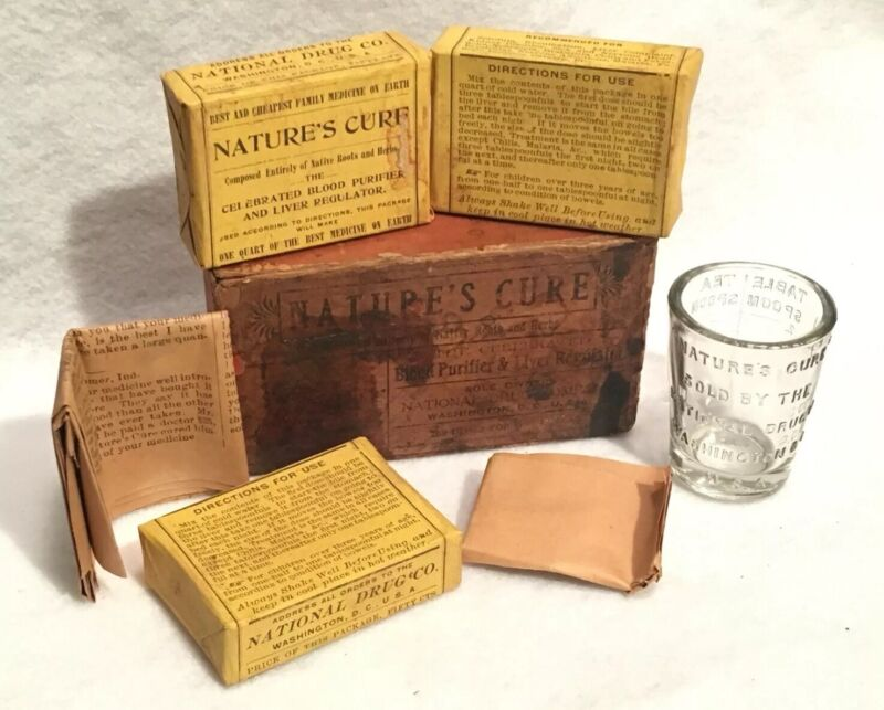 Antique Nature's Cure Blood Purifier Apothecary Pharmacy Box National Drug Co.