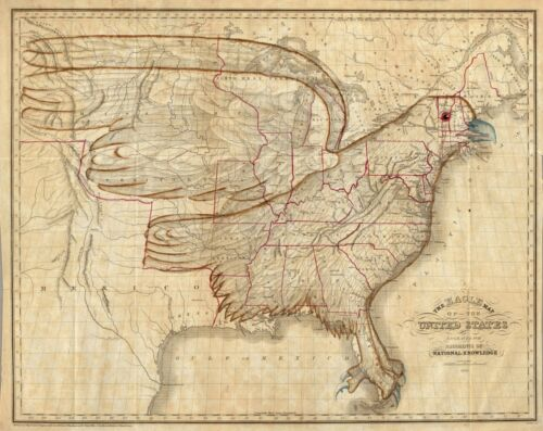 1833 PICTORIAL Ornamental Eagle Map of the United States POSTER 4609