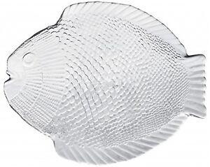 Set of 6  Glass Fish Platter Fish Plate  27cm x 20cm