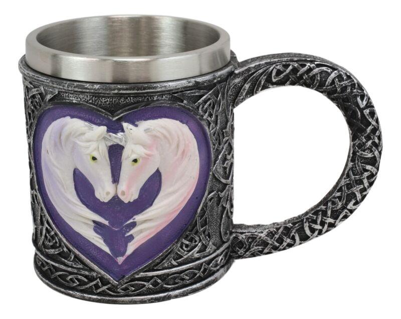 Sacred Love Unicorn Valentines Couple In Heart Shape Tankard Drinking Mug Cup