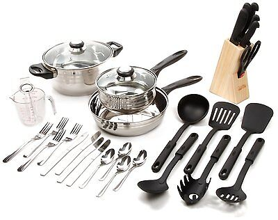 GIBSON COOKWARE KITCHEN SET STAINLESS STEEL POTS and PANS KNIVES TOOLS