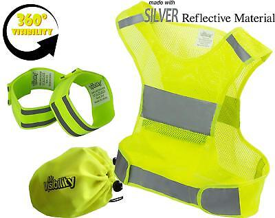 Reflective Vest Running Gear Reflector Bands + Bag High Visibility Safety Vest