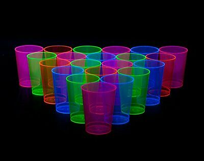 Neon Party 100-Cups Assorted Plastic Beer Drinks Glasses Glow In The Dark Gift - Glow In The Dark Plastic Cups
