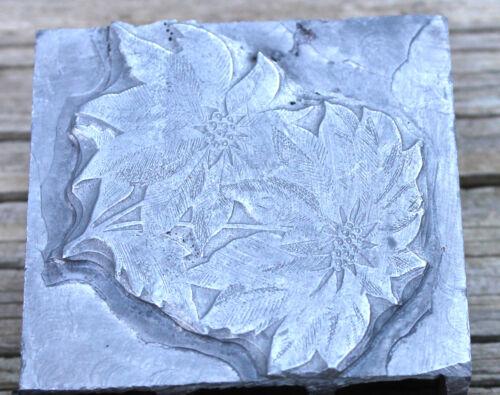 Vintage Letterpress Metal Printing Block Merry Christmas Flower Poinsettia