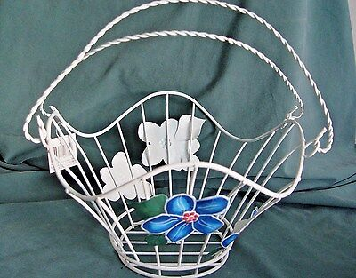 2 NEW WHITE WIRE METAL FLOWER BASKET W/ HANDLES FLORAL BASKETS - Baskets Wholesale