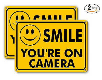 2 Smile Youre On Camera Yellow Business Security Sign Cctv Video Surveillance