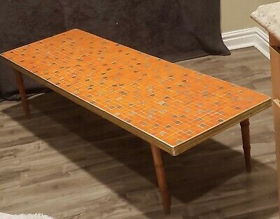 Vintage Orange Tile Top Coffee Table ()