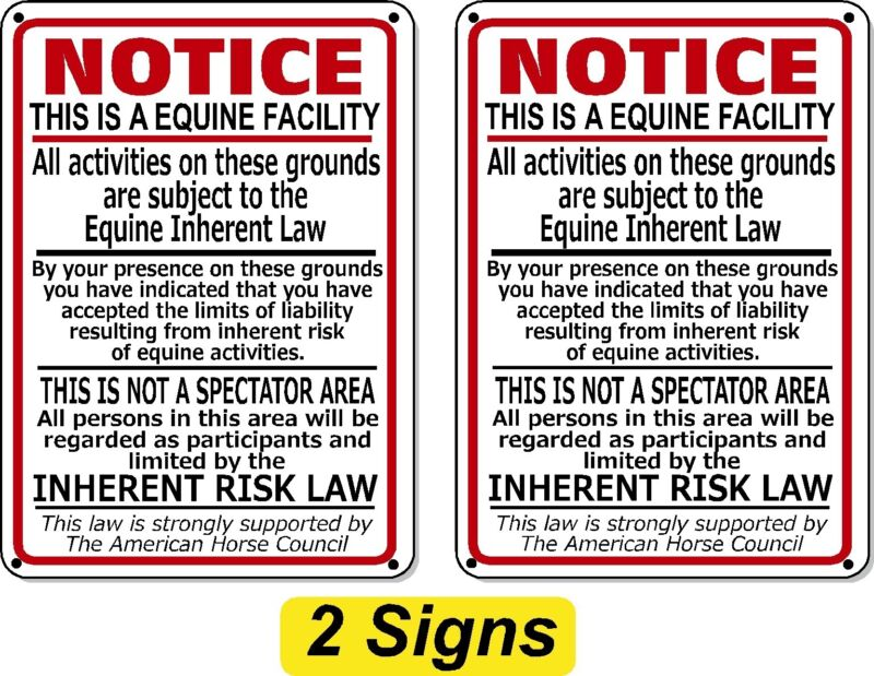 (2 Pack) Supplemental Equine Liability Sign warning statute horse barn stable
