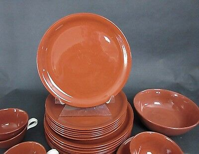 "Vintage SUNTONE 6 Luncheon 9"" Plates HOMER LAUGHLIN Rust Chocolate Color"