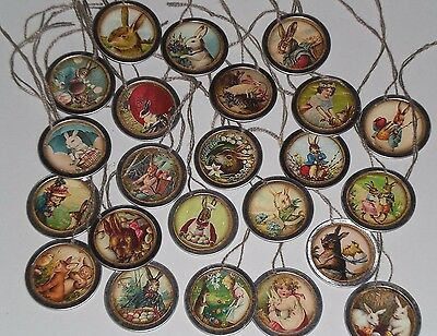 10 Assorted Prim Vintage Easter Bunny Metal Rim Hang Tags Mini Tree Ornaments
