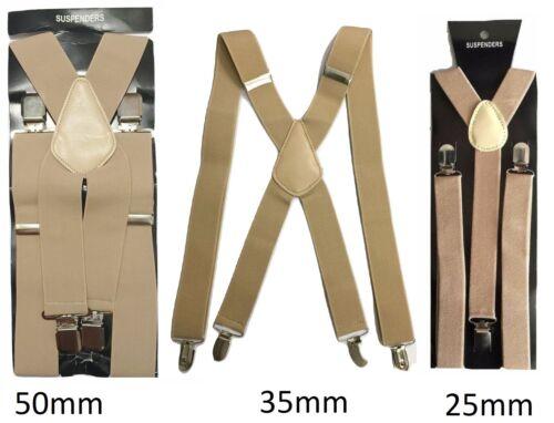 Beige Men Ladies Braces Elastic Durable Strong 25mm 35mm 50mm Wide Trousers
