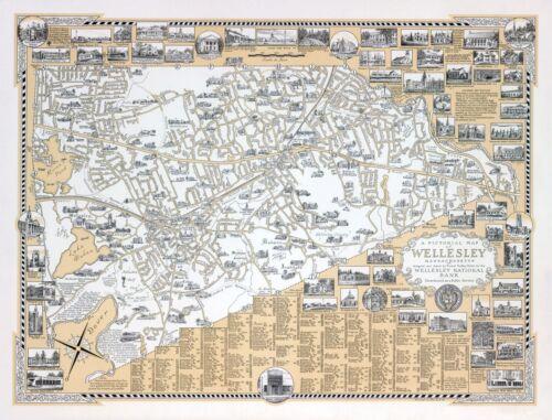 1960 PICTORIAL map Wellesley Massachusetts POSTER 11275