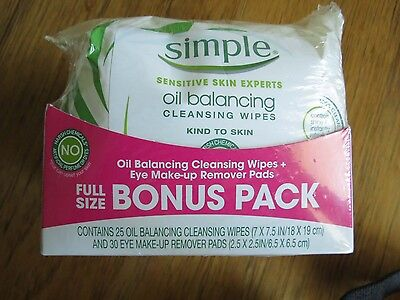 SIMPLE Oil Balancing or Radiance 25 Cleansing Wipes & 30 Eye