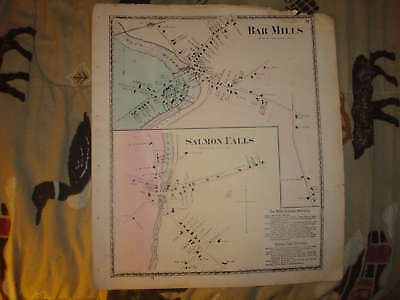 1872 BAR MILLS SALMON FALLS MAINE ANTIQUE HANDCLR MAP - Mills Salmon