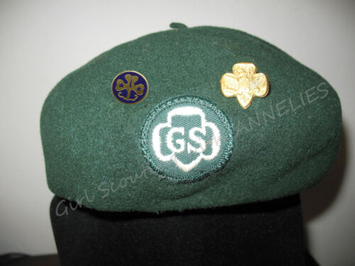 1950s Official HAT Girl Scouts Dark Green BERET+ PINS Halloween REDUCED PRICE