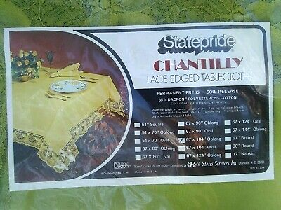 """Statepride Green Chantilly Lace Edged Tablecloth - 67 x 104"""" Oblong Belk Stores"""