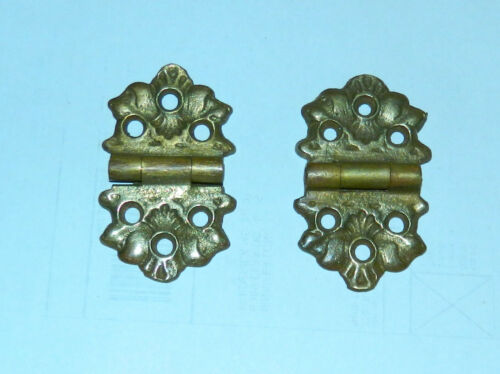 Pair of Vintage Solid Brass Ornate Hinges