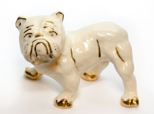 Bulldog Figurine Ceramic Porcelain Hand Painted White Gold Trim Vintage
