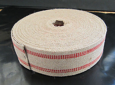 Red Stripe Jute Webbing Auto or Furniture Upholstery Supplies By The Yard