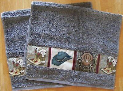WESTERN SET OF 2 BATH HAND/GUEST TOWELS,SPANISH GRAY, COWBOY BOOTS AND HATS - Cowboy Hats And Boots