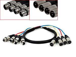 10ft 4-Channel XLR Male to XLR Female Snake Cable