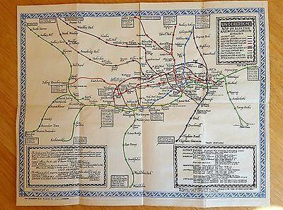 Original 1921 London Underground Map Macdonald Gill  Very Rare