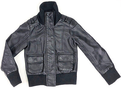 JOE FRESH FAUX LEATHER BLACK BOMBER JACKET WINTER COAT BOYS KIDS SZ X-SMALL 4-5