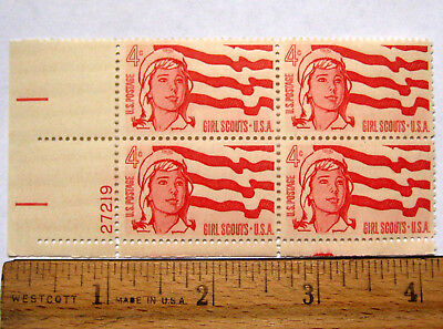 Vintage Girl Scout 1962 BLOCK of FOUR 4 Cent POSTAGE STAMPS 50th Anniversary NEW