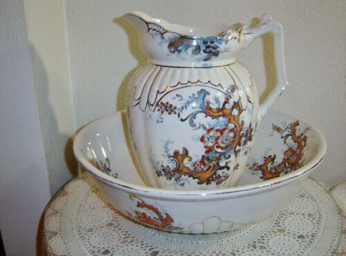 Antique Staffordshire Stoke On Trent Grimwades Large Wash Basin and Pitcher