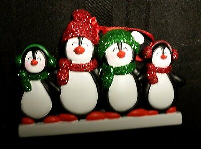 Personalized Penguin Family 4 Christmas Tree Ornament Holiday Gift