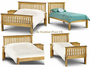 Barcelona solid pine bed frame in single double kingsize for Low height single divan bed