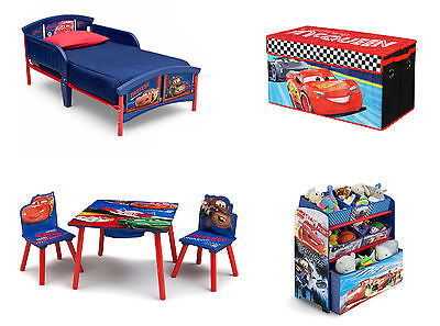 NEW Disney Cars Bedroom Furniture Set Room Toddler Bed Table Storage Toy Bin 4PC