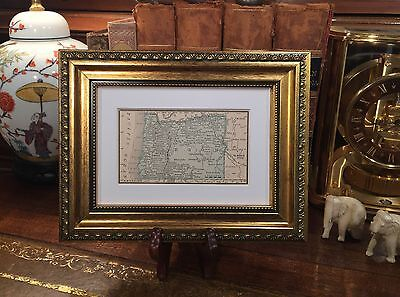 Framed Original 1889 Antique Map OREGON Beaverton Eugene Portland Salem Gresham
